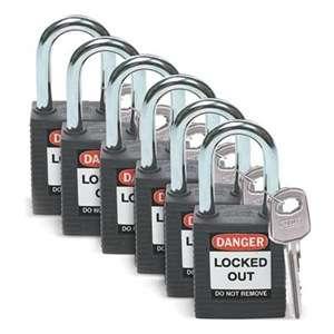 Zvětšit fotografii - Brady Bezpečnostní visací zámky - Černé zámky Brady, sada 6 kusů