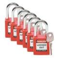 Bezpečnostní visací zámky Brady - Červené zámky Brady, sada 6 kusů