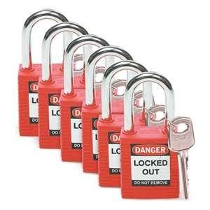 Zvětšit fotografii - Brady Bezpečnostní visací zámky - Červené zámky Brady, sada 6 kusů