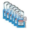 Zobrazit detail - Bezpečnostní visací zámky Brady - Modré zámky Brady, sada 6 kusů