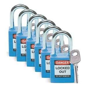 Zvětšit fotografii - Brady Bezpečnostní visací zámky - Modré zámky Brady, sada 6 kusů