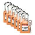 Zobrazit detail - Bezpečnostní visací zámky Brady - Oranžové zámky, sada 6 kusů