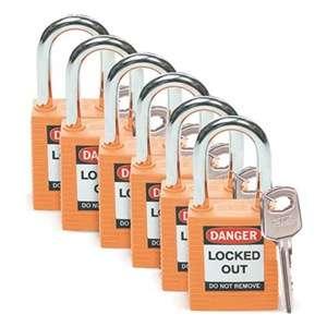 Zvětšit fotografii - Brady Bezpečnostní visací zámky - Oranžové zámky Brady, sada 6 kusů