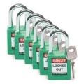 Zobrazit detail - Bezpečnostní visací zámky Brady - Zelené zámky Brady, sada 6 kusů