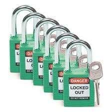 Zvětšit fotografii - Brady Bezpečnostní visací zámky - Zelené zámky Brady, sada 6 kusů