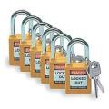 Bezpečnostní visací zámky Brady - Žluté zámky Brady, sada 6 kusů