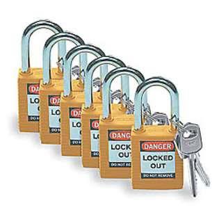 Zvětšit fotografii - Brady Bezpečnostní visací zámky - Žluté zámky Brady, sada 6 kusů