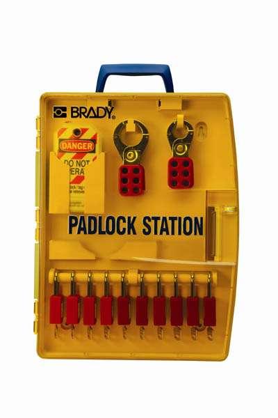 Zvětšit fotografii - Brady Přenosný uzamykatelný box na zámky - žlutý, Lockout Station