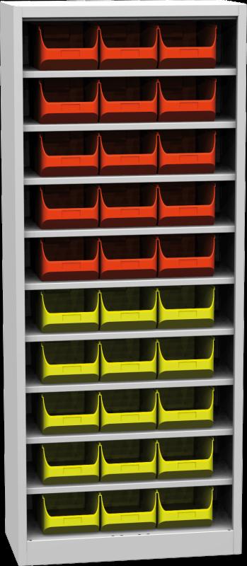 Zvětšit fotografii - Kovová skříň s plastovými zásobníky 1950 x 800 x 400 mm