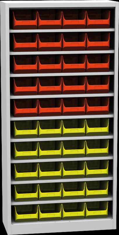Zvětšit fotografii - Kovová skříň s plastovými zásobníky 1950 x 950 x 400 mm
