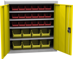 Zvětšit fotografii - Skříň s plastovými zásobníky 8800 x 800 x 400 mm - žlutá